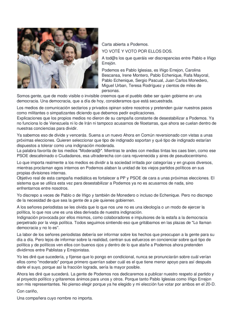 Carta abierta a Podemos
