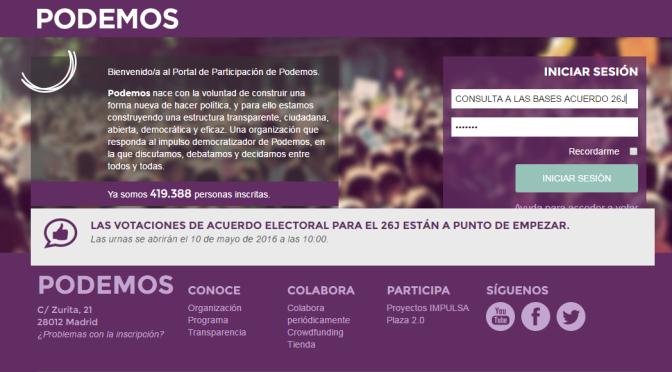 VOTACIONES DE ACUERDO ELECTORAL PARA EL 26 Junio