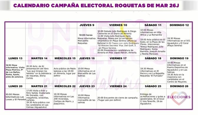 Calendario Campaña Roquetas de Mar 26J